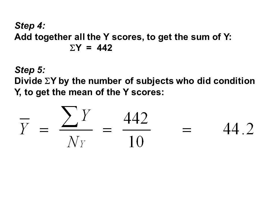 Step 4: Add together all the Y scores, to get the sum of Y: Y = 442. Step 5: