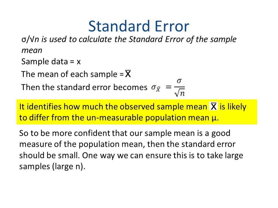 Standard Error σ/√n is used to calculate the Standard Error of the sample mean. Sample data = x. The mean of each sample =
