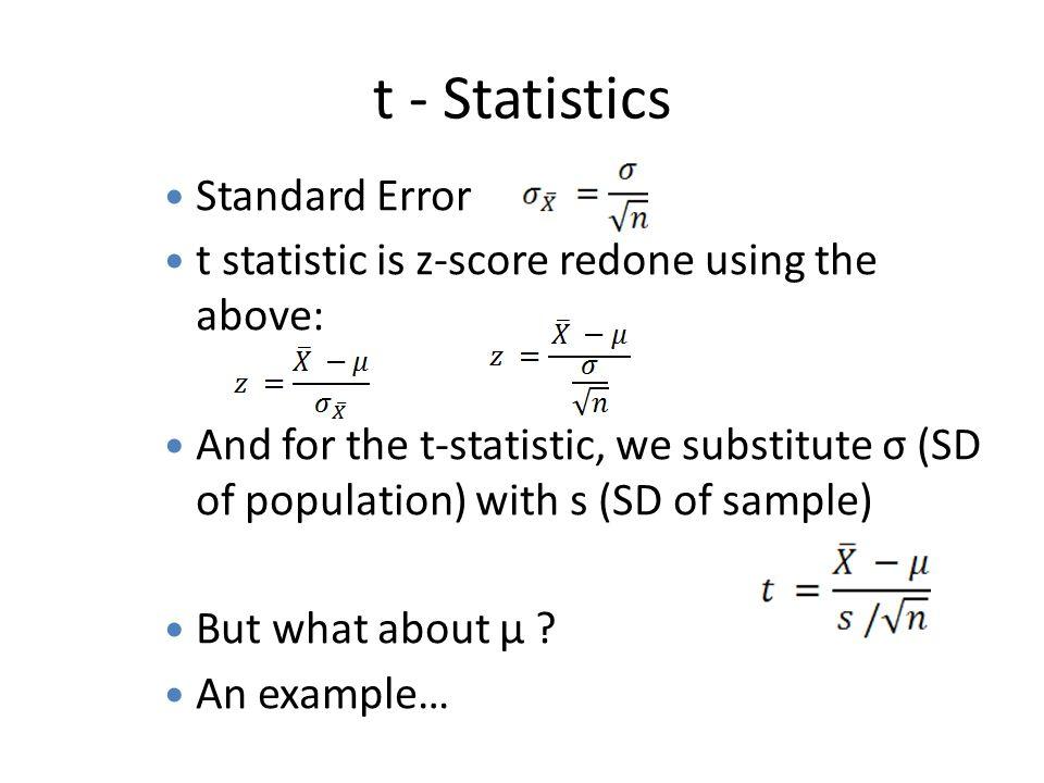 t - Statistics Standard Error