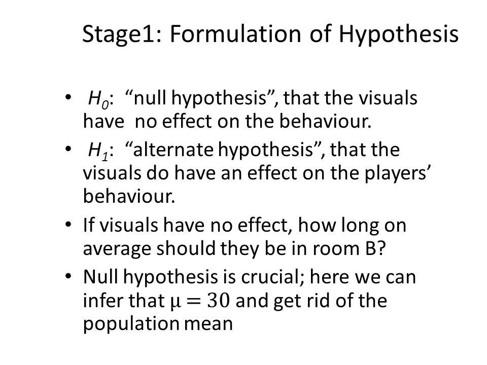 Stage1: Formulation of Hypothesis