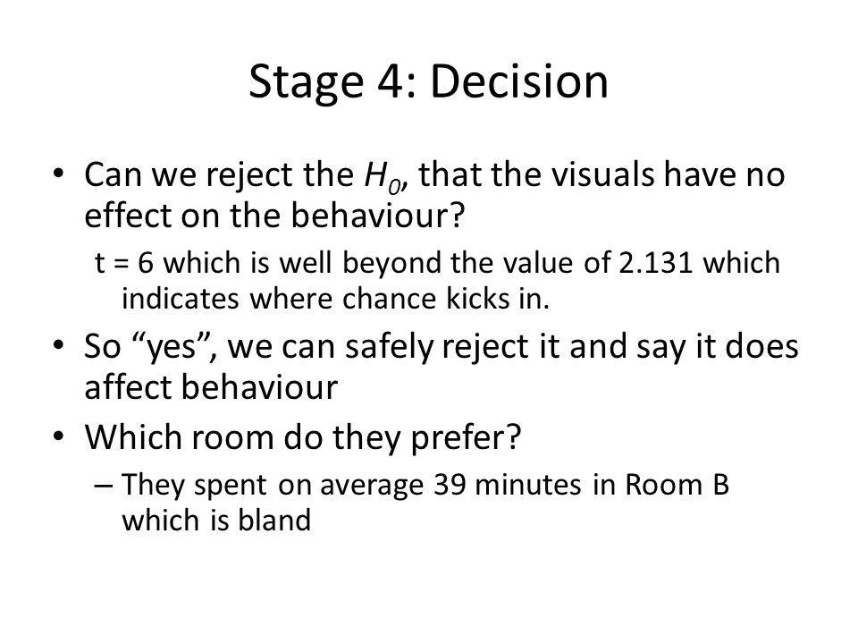 Stage 4: Decision Can we reject the H0, that the visuals have no effect on the behaviour