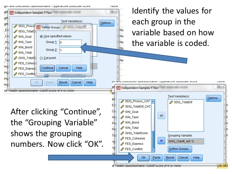 Identify the values for each group in the variable based on how the variable is coded.