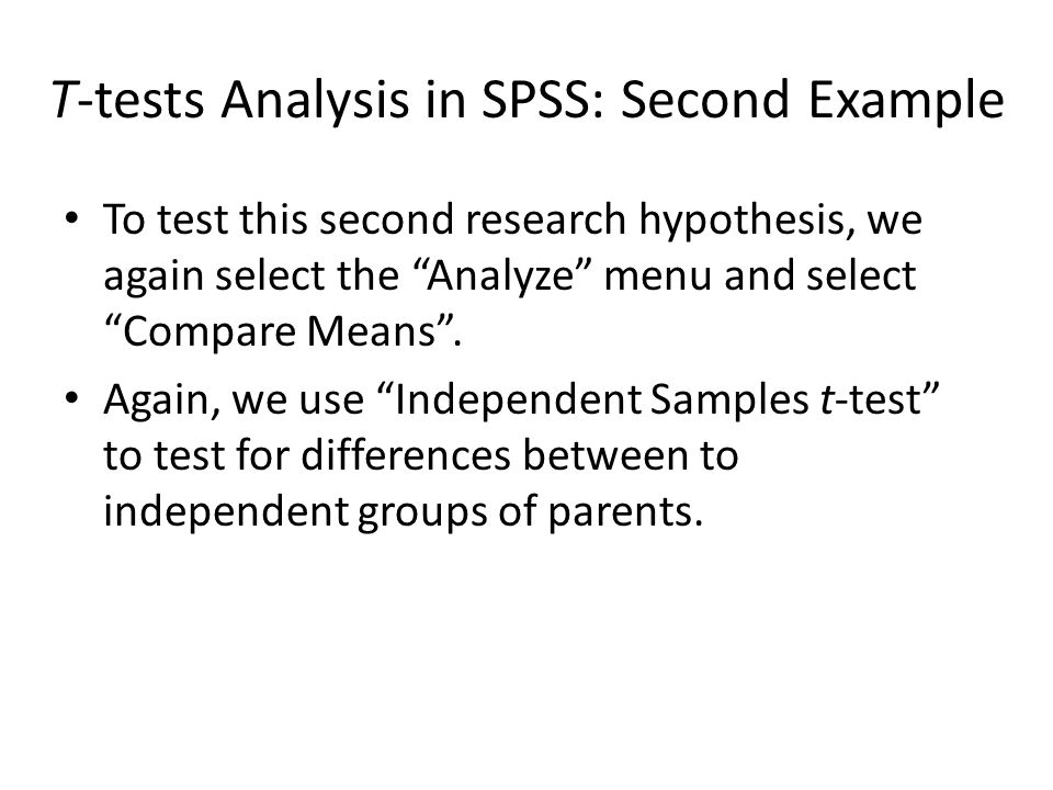 T-tests Analysis in SPSS: Second Example