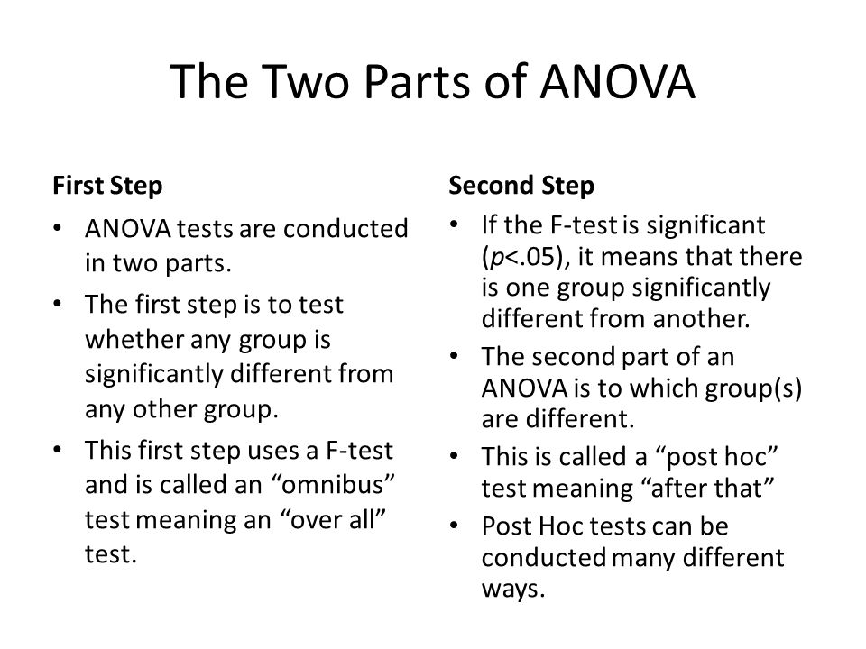 The Two Parts of ANOVA First Step Second Step