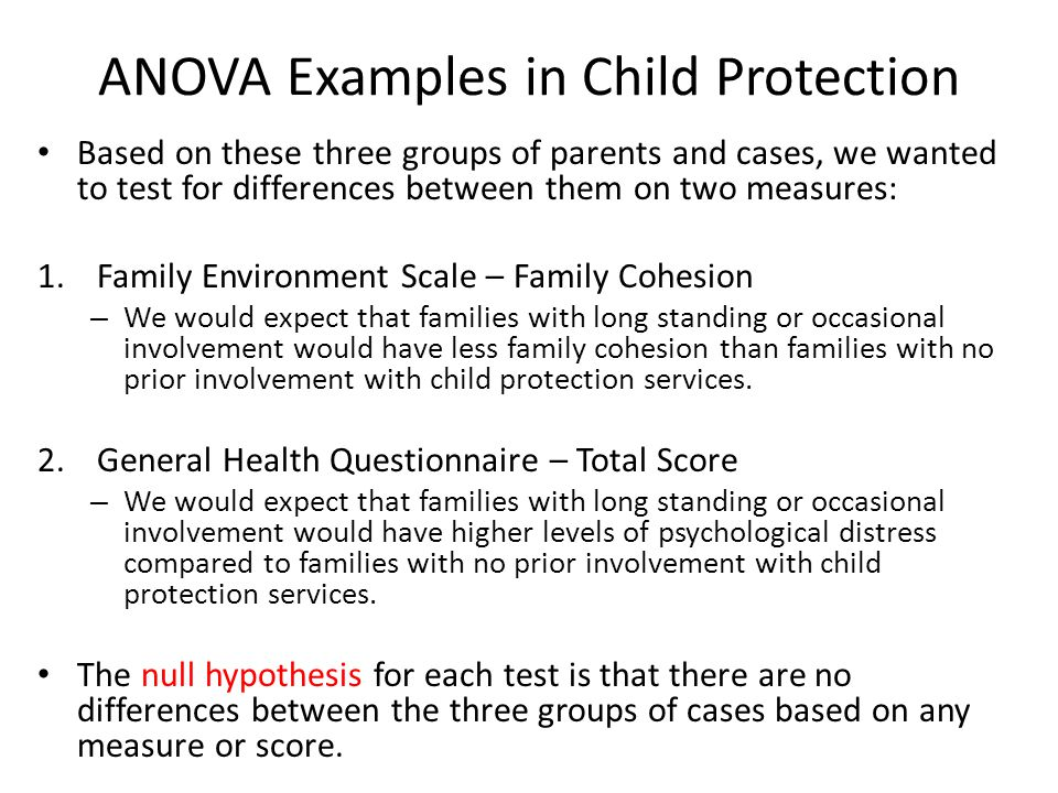 ANOVA Examples in Child Protection