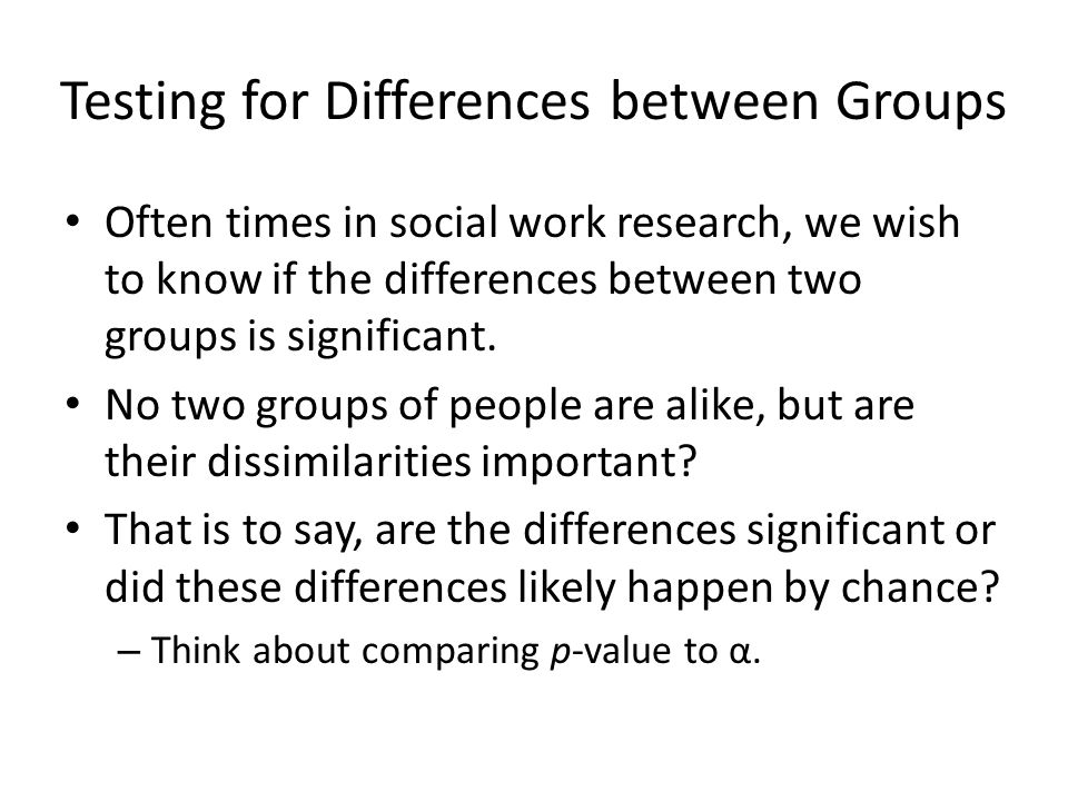 Testing for Differences between Groups