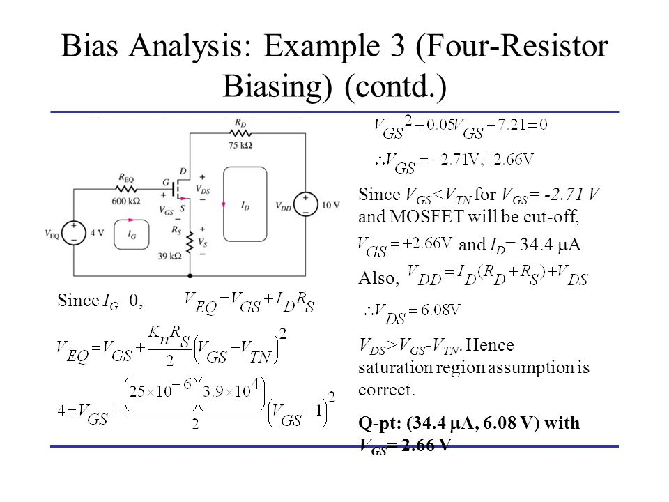 Bias Analysis: Example 3 (Four-Resistor Biasing) (contd.)