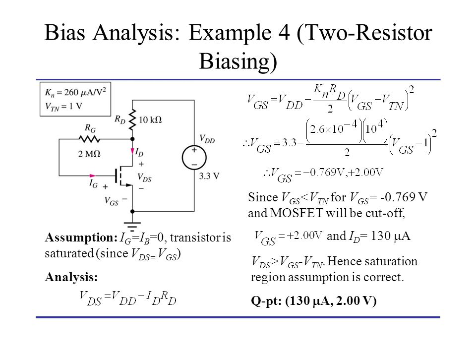 Bias Analysis: Example 4 (Two-Resistor Biasing)
