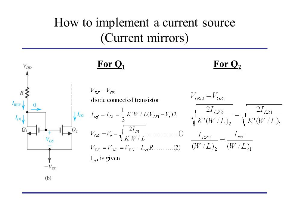 How to implement a current source (Current mirrors)