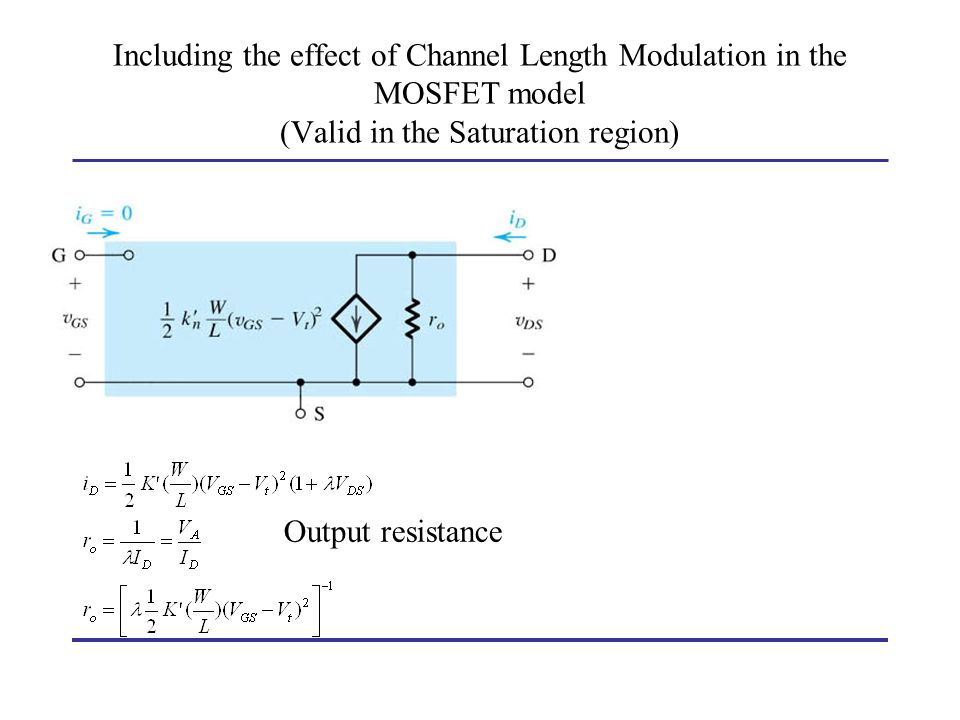 Including the effect of Channel Length Modulation in the MOSFET model (Valid in the Saturation region)