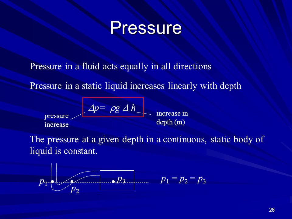 Pressure Pressure in a fluid acts equally in all directions
