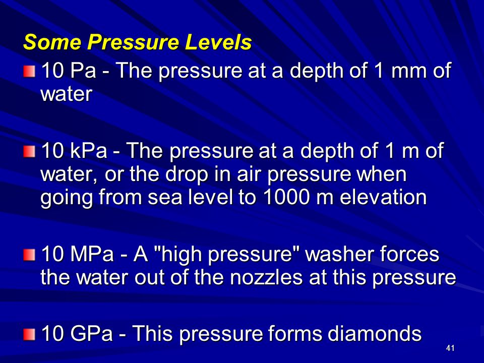 Some Pressure Levels 10 Pa - The pressure at a depth of 1 mm of water.