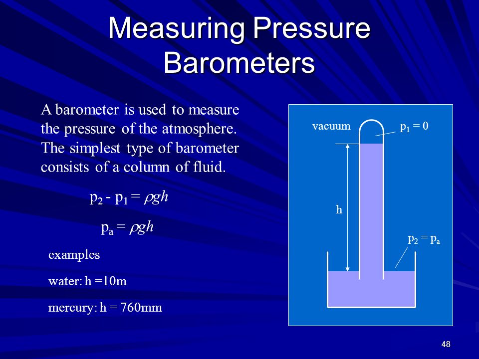 Measuring Pressure Barometers