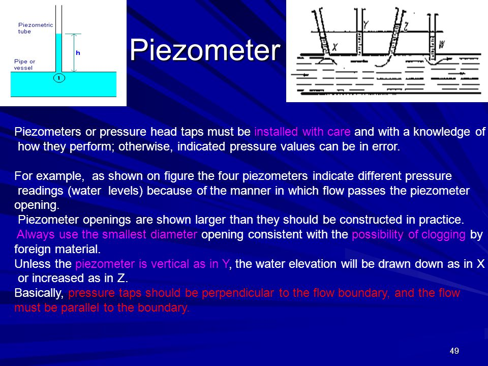 Piezometer Piezometers or pressure head taps must be installed with care and with a knowledge of.