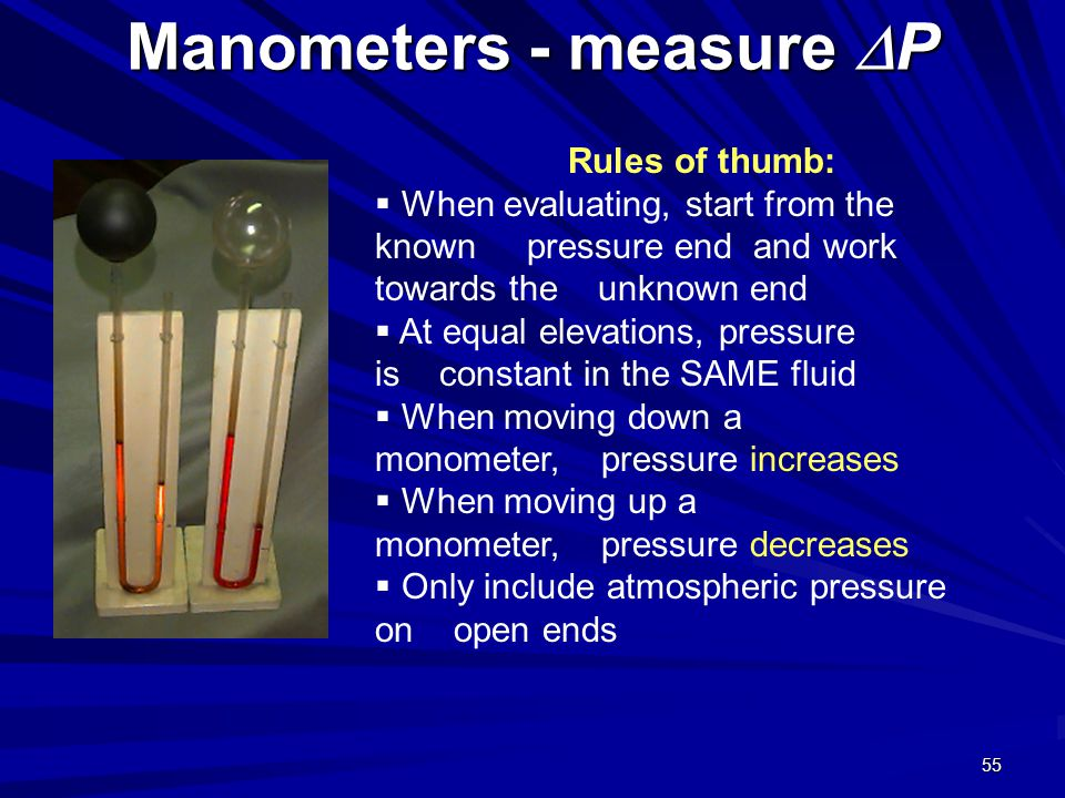Manometers - measure DP
