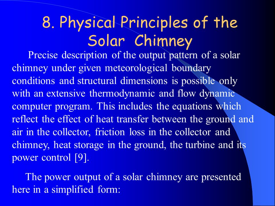 8. Physical Principles of the Solar Chimney