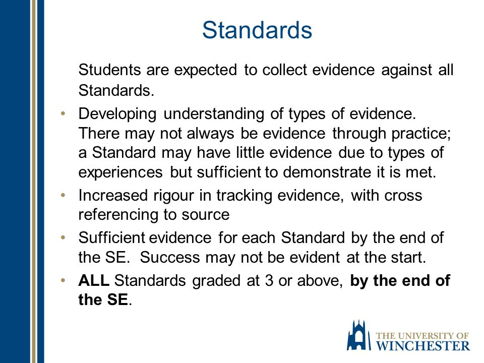 Standards Students are expected to collect evidence against all Standards.