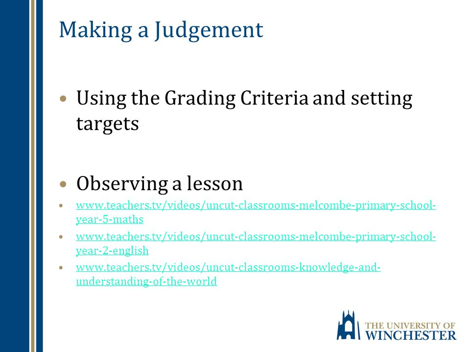 Making a Judgement Using the Grading Criteria and setting targets