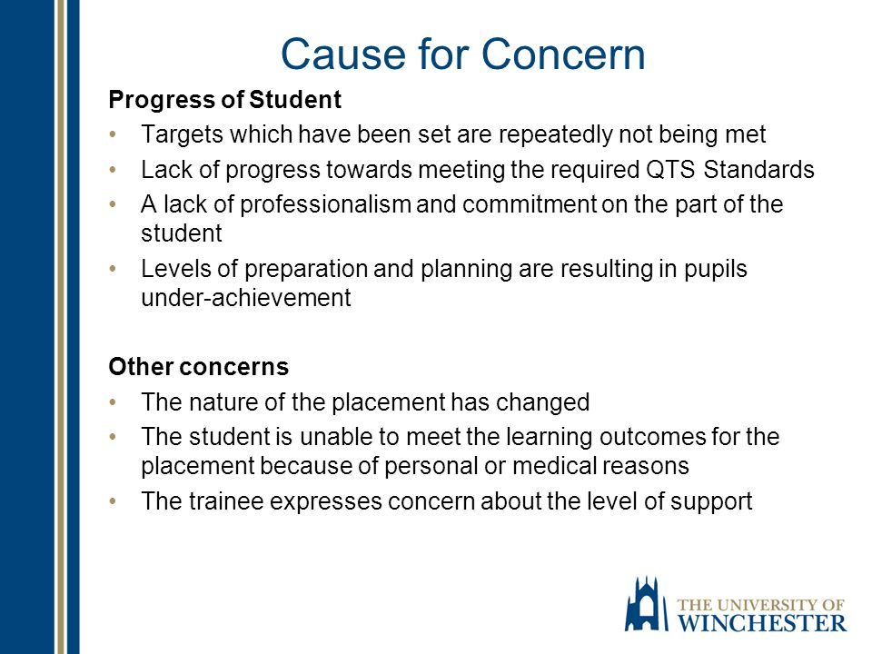 Cause for Concern Progress of Student