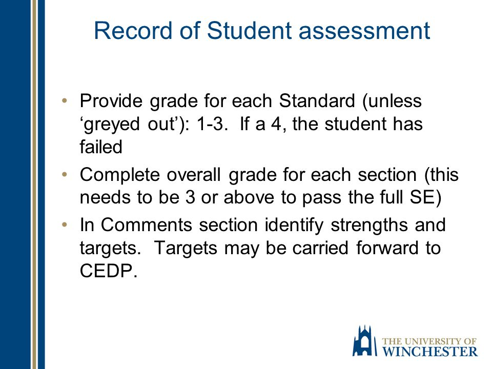 Record of Student assessment