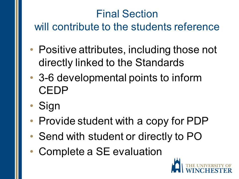 Final Section will contribute to the students reference