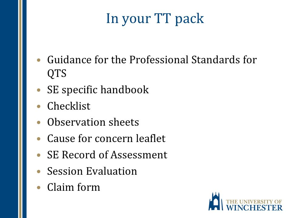 In your TT pack Guidance for the Professional Standards for QTS