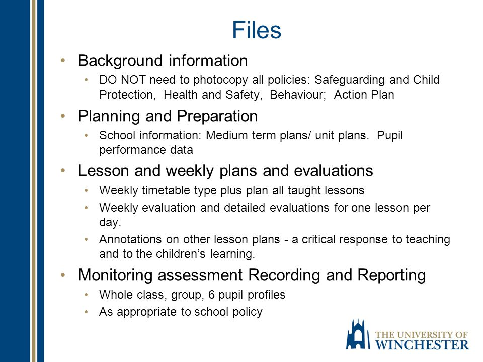 Files Background information Planning and Preparation