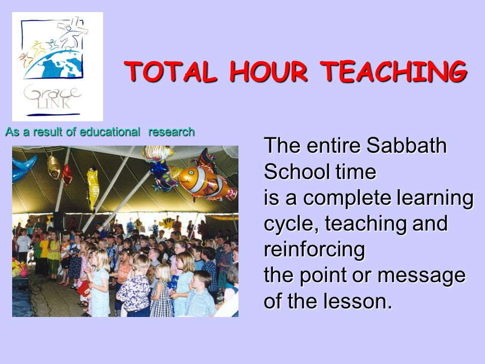 TOTAL HOUR TEACHING The entire Sabbath School time