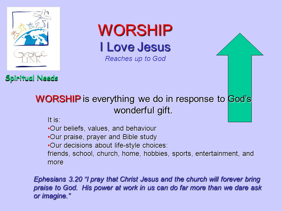 WORSHIP is everything we do in response to God's wonderful gift.