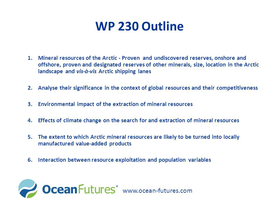 WP 230 Outline www.ocean-futures.com