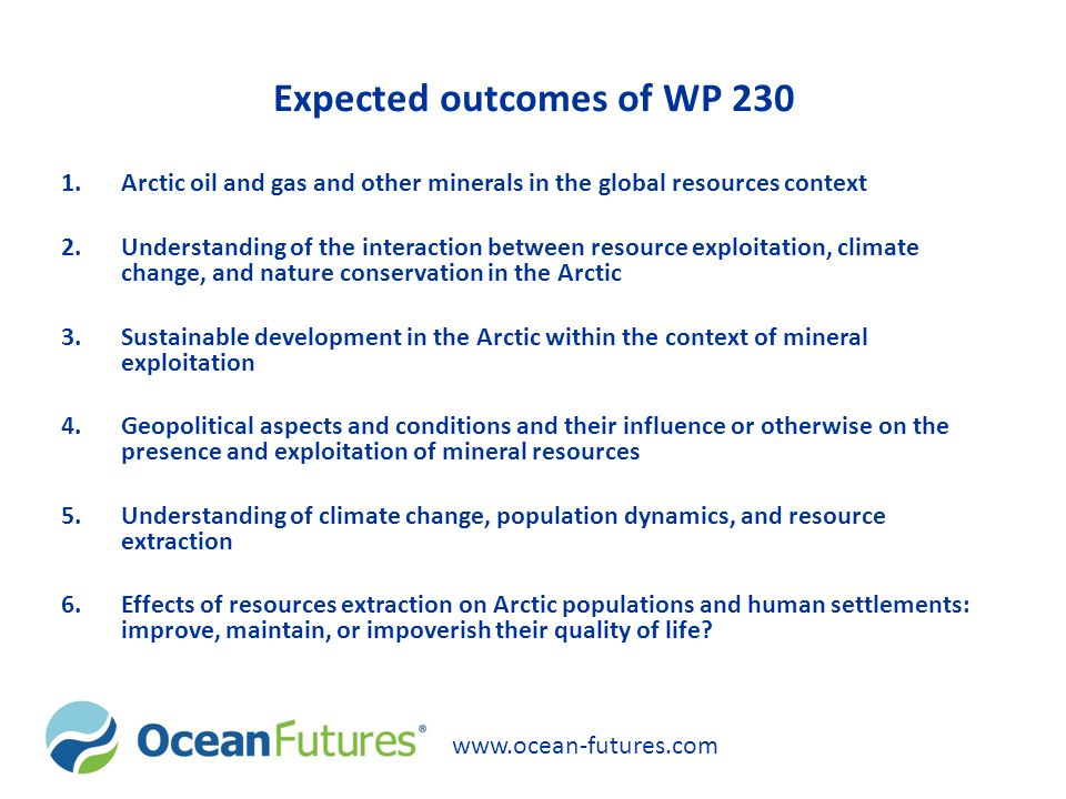 Expected outcomes of WP 230