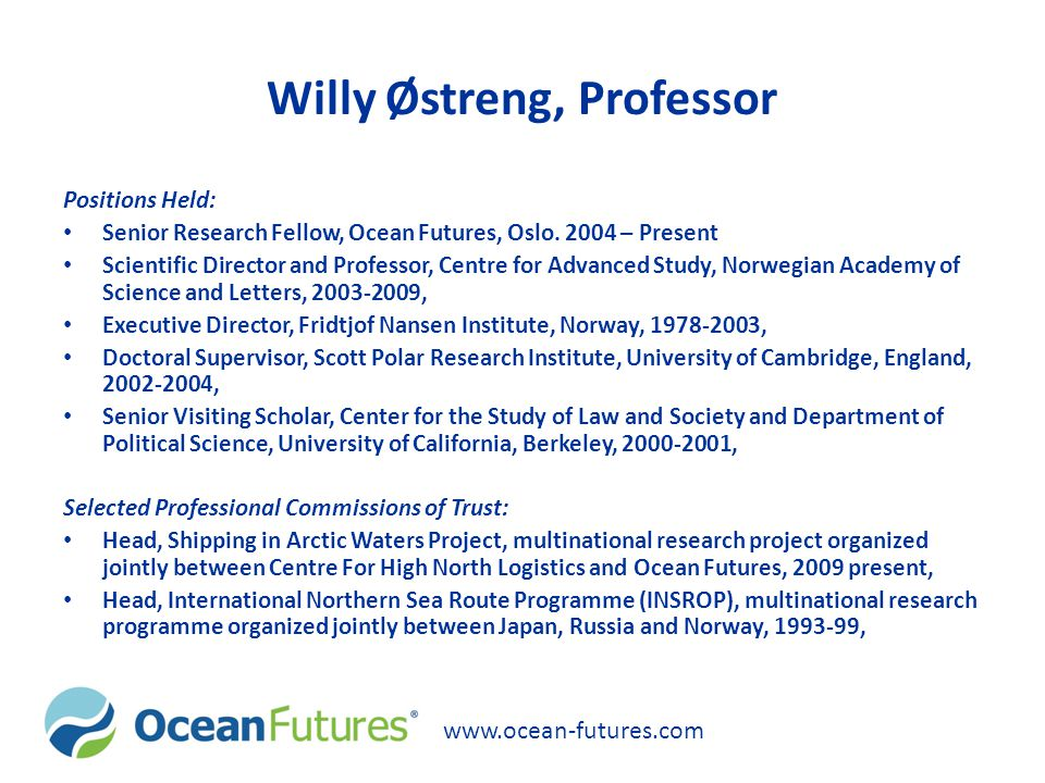 Willy Østreng, Professor