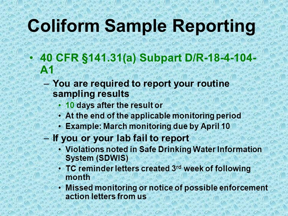 Coliform Sample Reporting