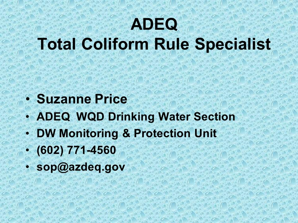 ADEQ Total Coliform Rule Specialist