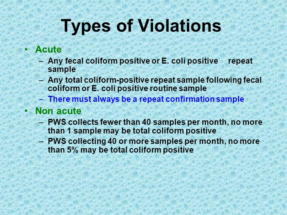 Types of Violations Acute Non acute