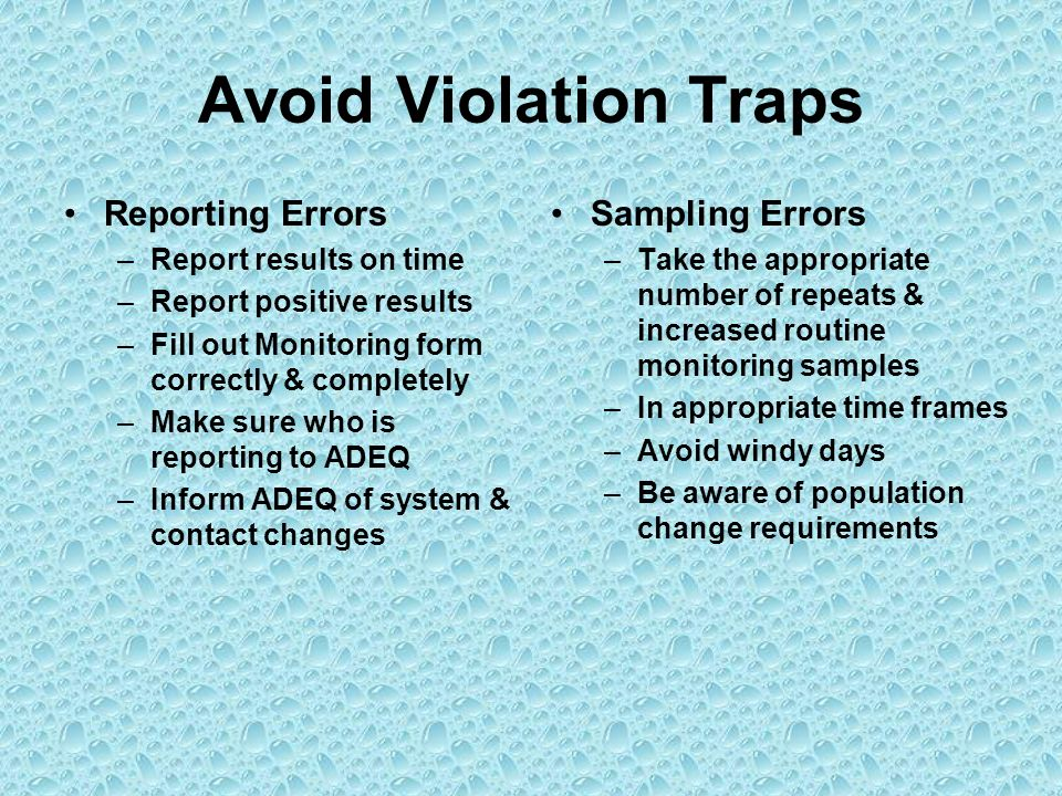 Avoid Violation Traps Reporting Errors Sampling Errors
