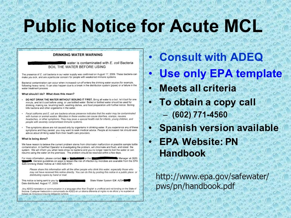 Public Notice for Acute MCL