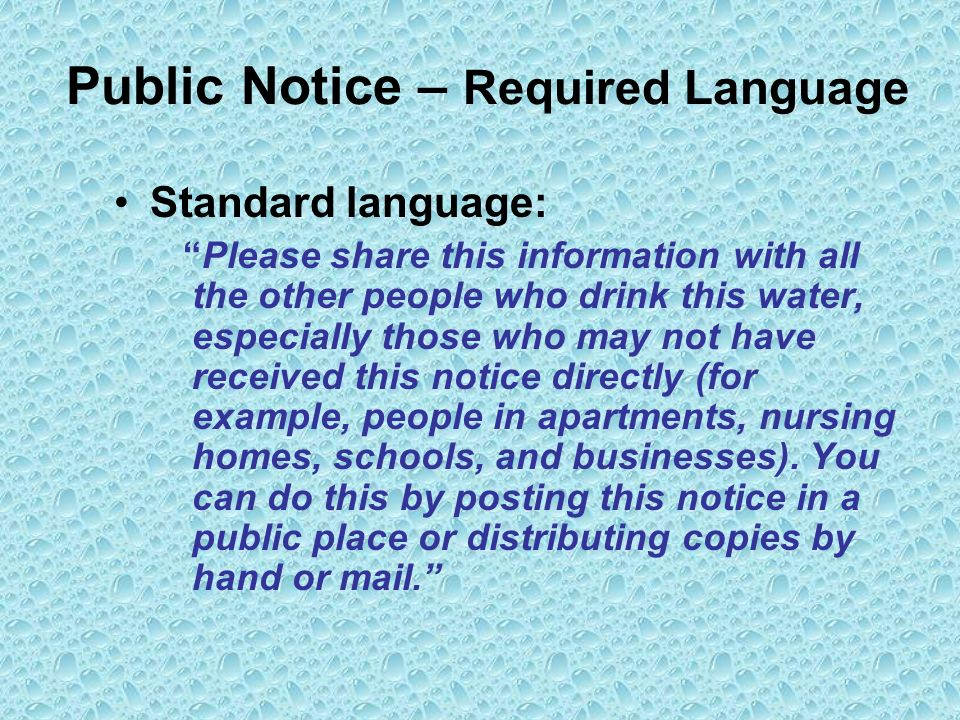 Public Notice – Required Language