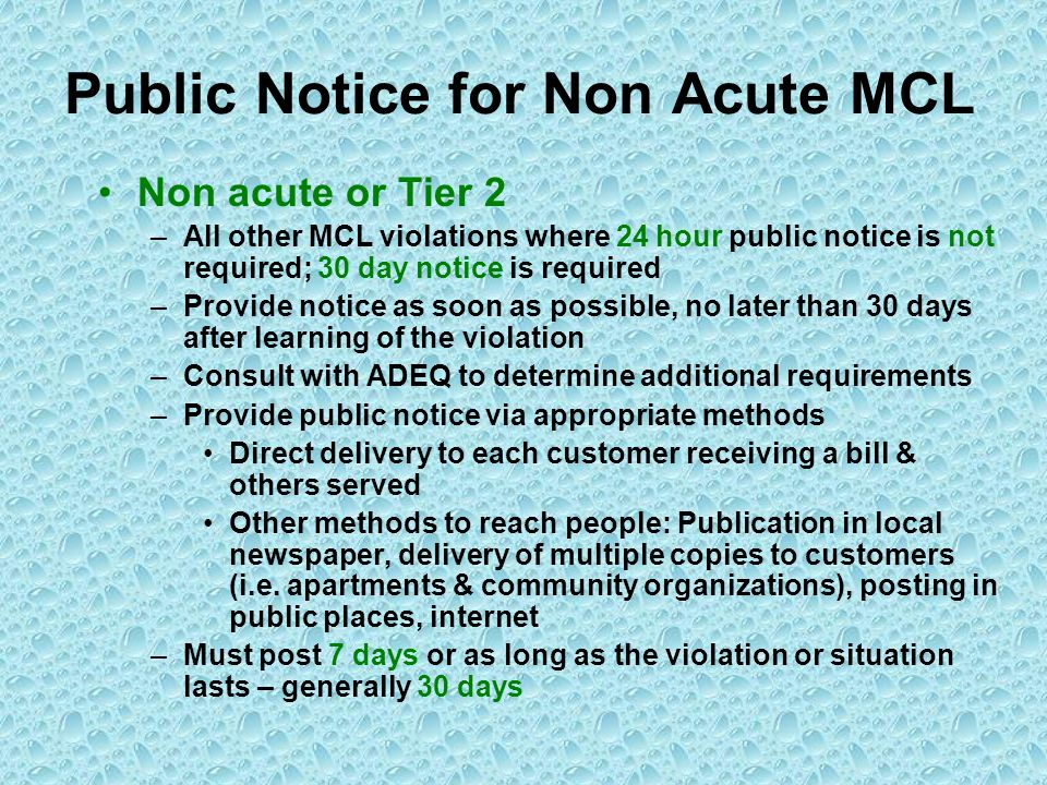 Public Notice for Non Acute MCL