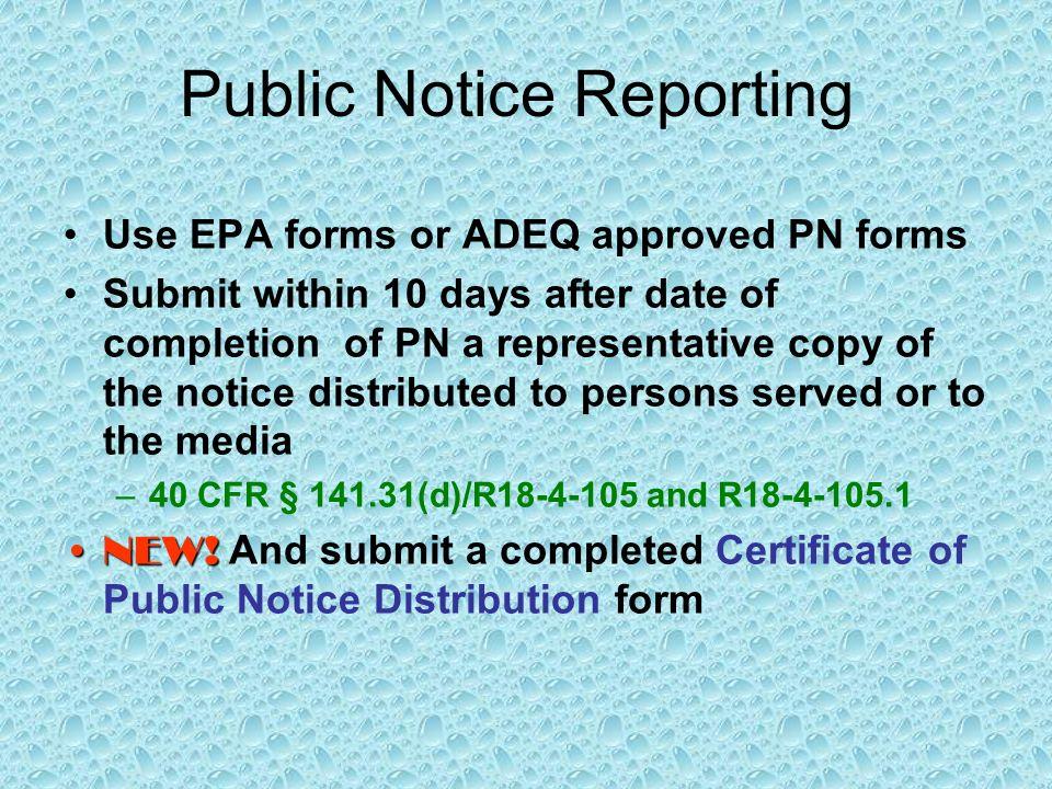 Public Notice Reporting