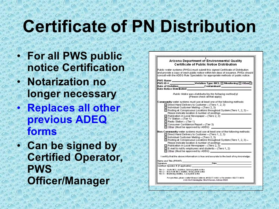 Certificate of PN Distribution