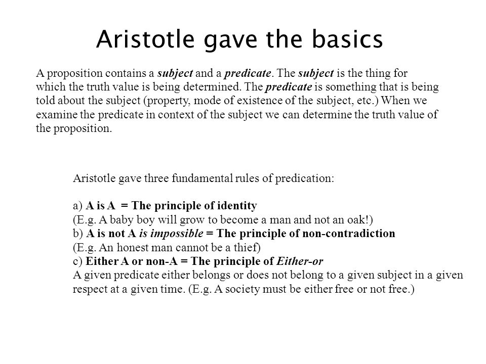 Aristotle gave the basics