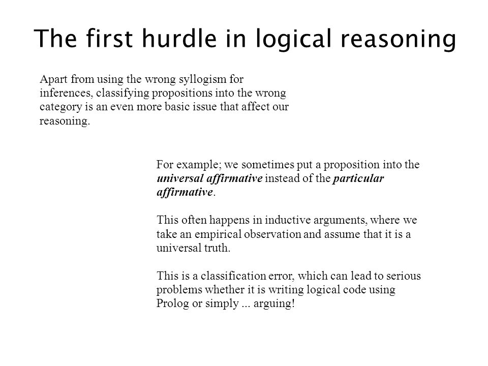 The first hurdle in logical reasoning