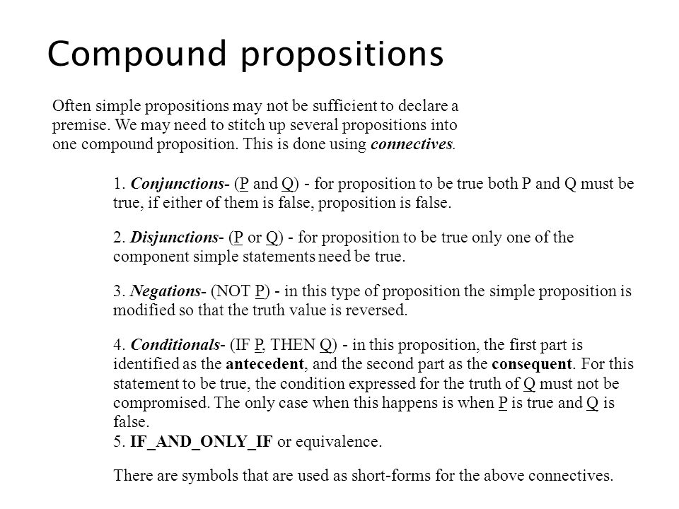 Compound propositions