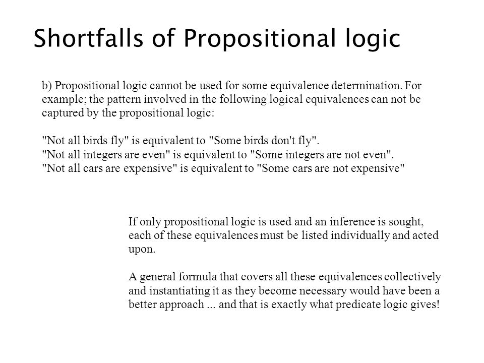Shortfalls of Propositional logic