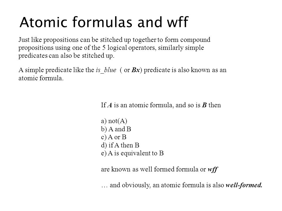 Atomic formulas and wff