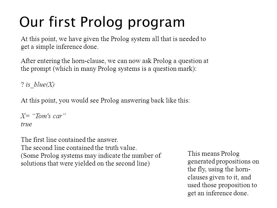 Our first Prolog program