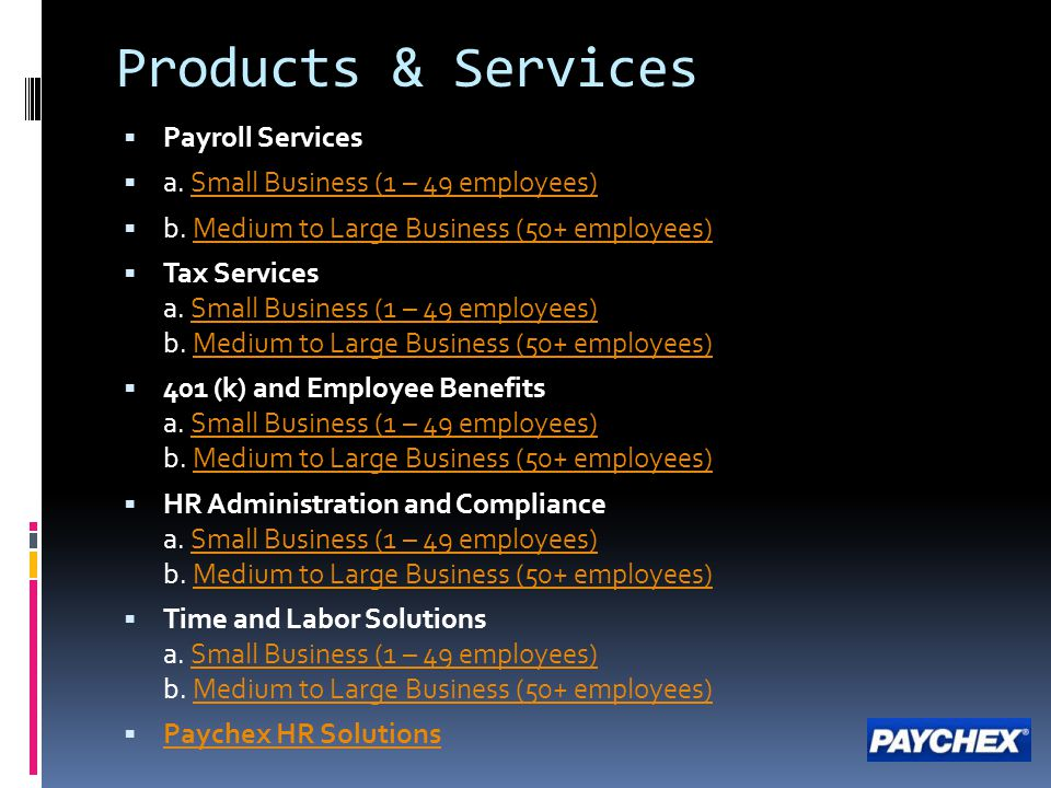 Products & Services Payroll Services