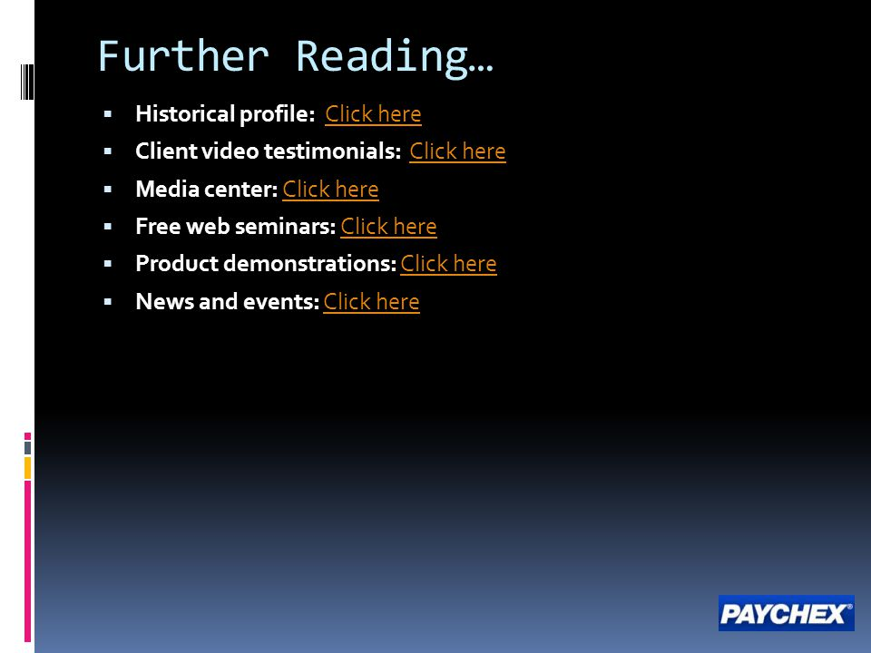 Further Reading… Historical profile: Click here