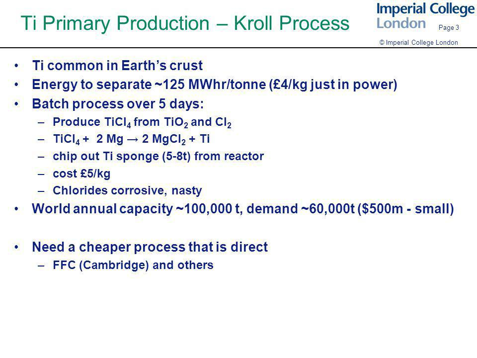 Ti Primary Production – Kroll Process